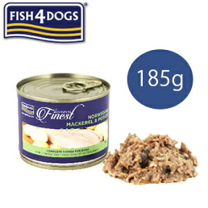 フィッシュ4ドッグ Fish 4 dogs サバポテト 185g【ポイント10倍】【魚/ウェットフード/缶詰/トッピング/ペットフード/ドッグフード/NORWEGIAN MACKEREL&POTATO/穀物不使用】
