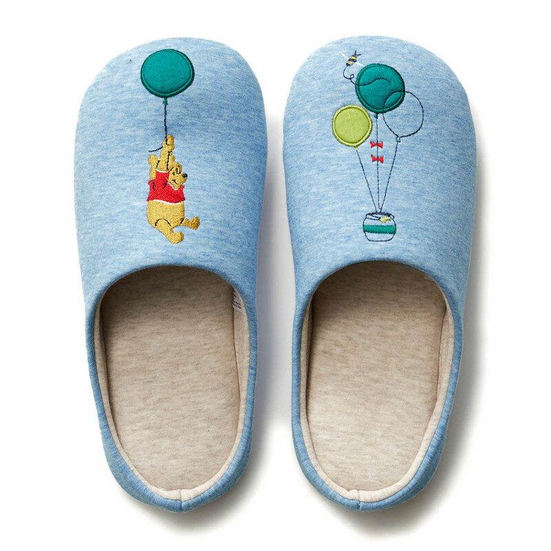 【Disney】ディズニー 快適スリッパ 「くまのプーさん(ブルー)」 ◆ M L ◆ ◇ スリッパ ルーム シューズ 家庭用 客用 バブーシュ ◇