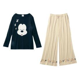【Disney】ディズニー 巾着付きトラベル長袖パジャマ 「ミッキーマウス」 ◆ S M L LL 3L ◆ ◇ 女性 パジャマ ルーム 部屋着 ルームウェア ◇
