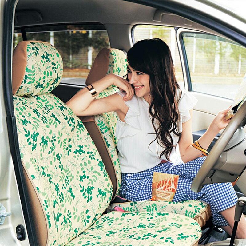 【Disney】ディズニー 軽自動車用撥水フィットカーシートカバー 「ミッキー&フレンズ(グリーン系)」 フロント用2枚 カー用品 カーグッズ 車用品 カーシートカバー 女性