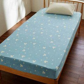 【Disney】ディズニー 綿100%ソフトパイルのボックスシーツ 「ブルー」 ◆ ダブル ◆ ◇ 寝具 布団 ベッド カバー マット ボックス シーツ マットレス bed ファブリック ◇