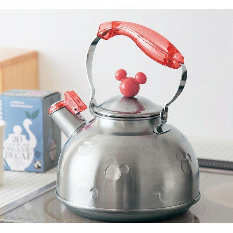 【Disney】ディズニー IH対応 ミッキーモチーフのステンレス笛吹きケトル 「レッド」 調理 料理 器具 ツール 道具 やかん ケトル