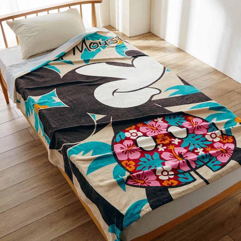 【Disney】ディズニー プリントタオルケット 「抱きつきミッキーマウス」 寝具 布団 ベッド ブランケット タオルケット ケット 綿入れ 上掛 昼寝 ベビー キルト bed