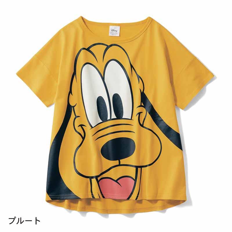 【Disney】ディズニー 半袖ビッグシルエットフェイスTシャツ(レディース) 「プルート」 S M L LL レディースファッション レディース カットソー Tシャツ