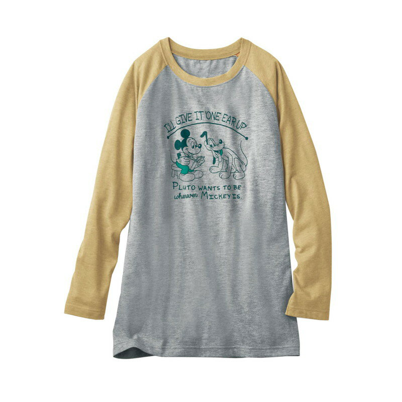 【Disney】ディズニー ラグランチュニックTシャツ ミッキー&プルート(杢イエロー×杢グレー) S M L LL 3L レディースファッション レディース カットソー Tシャツ