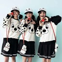 【Disney】ディズニー フェイスデザインフリースプルオーバー 「101匹わんちゃん(オフホワイト×ブラック)」 S M L …