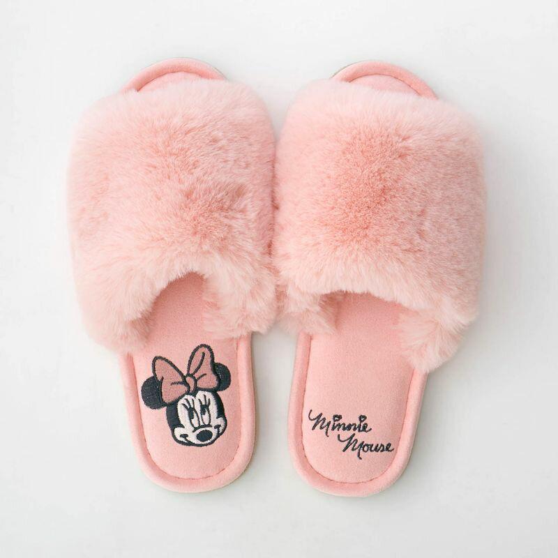 【Disney】ディズニー もふもふファーサンダルスリッパ 「ミニーマウス」 ◇ スリッパ ルーム シューズ 家庭用 客用 バブーシュ ミニーの日 ◇