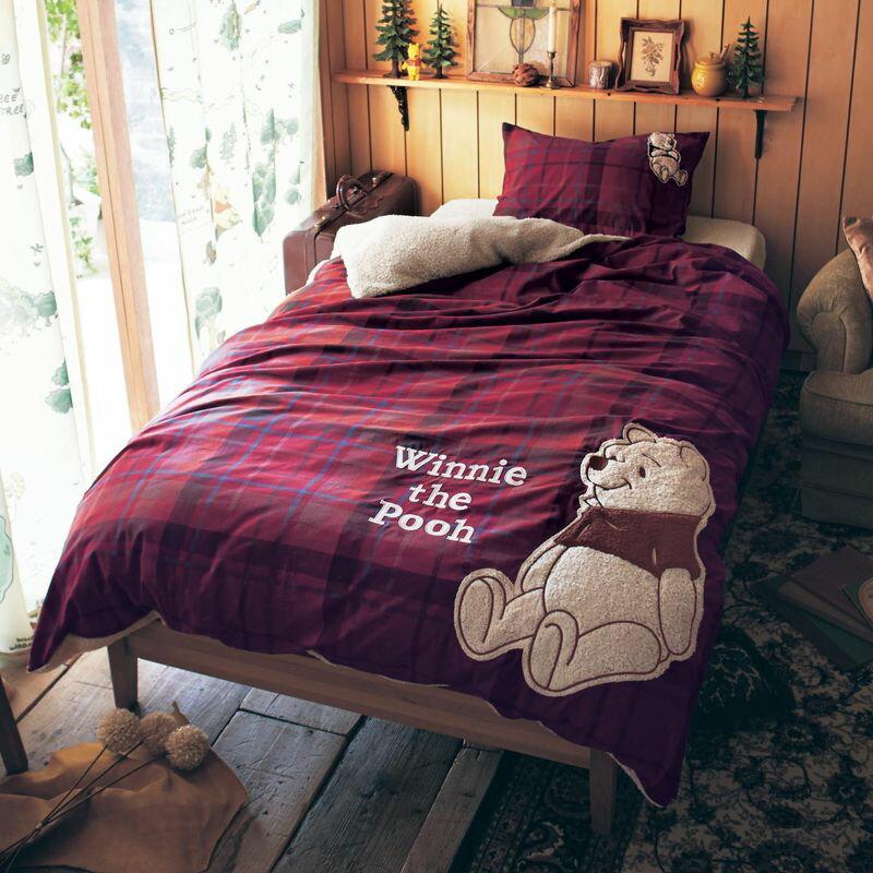 【送料無料】【Disney】ディズニー 先染めチェックとシープ調ボアの掛け布団カバー ◆ ダブル ◆ ◇ くまのプーさん 寝具 布団 ベッド カバー 掛布団 掛けカバー 布団カバー 掛け布団 bed ファブリック あったかグッズ ◇