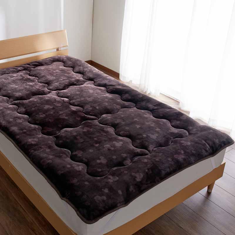【Disney】ディズニー なめらかマイクロファイバーのボリューム敷きパッド 「ブラウン」 ◆ ダブル ◆ ◇ 寝具 布団 ベッド カバー シーツ 敷きパッド 敷パッド パッド bed ファブリック ◇