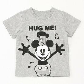 【Disney】ディズニー ディズニー名札ココ半袖Tシャツ 「ハグミー 蒸気船ウィリー (杢グレー)」