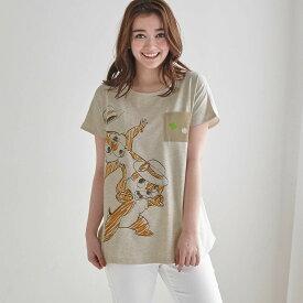 【Disney】ディズニー 切り替えチュニックTシャツ 「チップ&デール(オートミール×オフホワイト)」 ◆ S M L LL 3L ◆ ◇ レディースファッション レディース カットソー Tシャツ ◇
