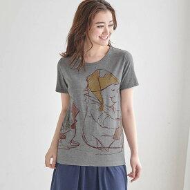 【Disney】ディズニー プリントTシャツ(レディース) 「プーさんと仲間たち(杢グレー)」 ◆ SS M L LL 3L ◆ ◇ レディースファッション レディース カットソー Tシャツ ◇