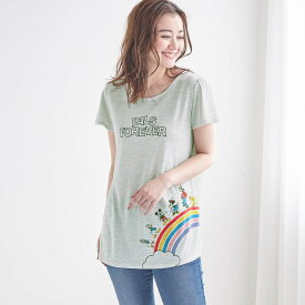 【Disney】ディズニー フレア袖チュニックTシャツ 「ミッキー&フレンズ(オートミール)」 ◆ SS M L LL 3L ◆ ◇ レディースファッション レディース カットソー Tシャツ ◇