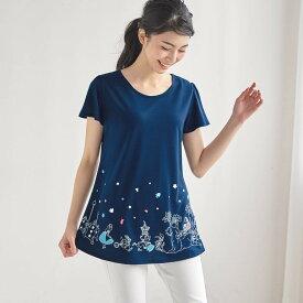 【Disney】ディズニー フレア袖チュニックTシャツ 「ふしぎの国のアリス(ネイビー)」 ◆ SS M L LL 3L ◆ ◇ レディースファッション レディース カットソー Tシャツ ◇
