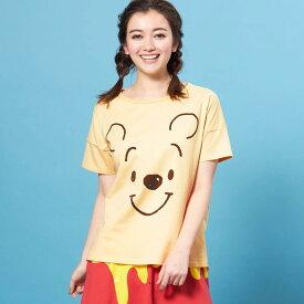 【Disney】ディズニー ビッグシルエットフェイスTシャツ(レディース) 「くまのプーさん(ライトイエロー)」 ◆ S M L LL ◆ ◇ レディースファッション レディース カットソー Tシャツ ◇