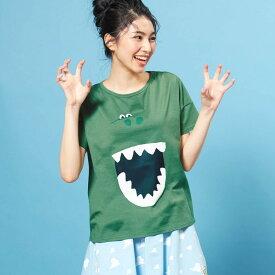 【Disney】ディズニー ビッグシルエットフェイスTシャツ(レディース) 「レックス(グリーン)」 ◆ S M L LL ◆ ◇ レディースファッション レディース カットソー Tシャツ ◇