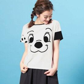 【Disney】ディズニー ビッグシルエットフェイスTシャツ(レディース) 「101匹わんちゃん(オフホワイト)」 ◆ S M L LL ◆ ◇ レディースファッション レディース カットソー Tシャツ ◇