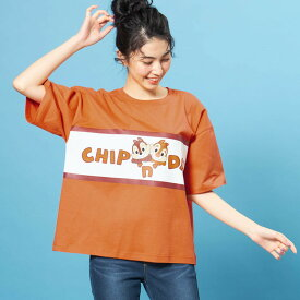 【Disney】ディズニー ブロックビッグTシャツ 「チップ&デール」 ◆ S〜M L〜LL ◆ ◇ レディースファッション レディース カットソー Tシャツ ◇
