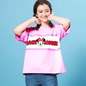【Disney】ディズニー ブロックビッグTシャツ 「ミニーマウス」 ◆ S〜M L〜LL ◆ ◇ レディースファッション レディース カットソー Tシャツ ◇