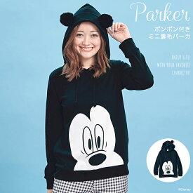 【Disney】ディズニー ポンポン付きミニ裏毛パーカ(レディース) 「ミッキーマウス(ブラック)」 ◆ S M L LL 3L ◆ ◇ レディースファッション レディース パーカ トレーナー プルオーバー ◇