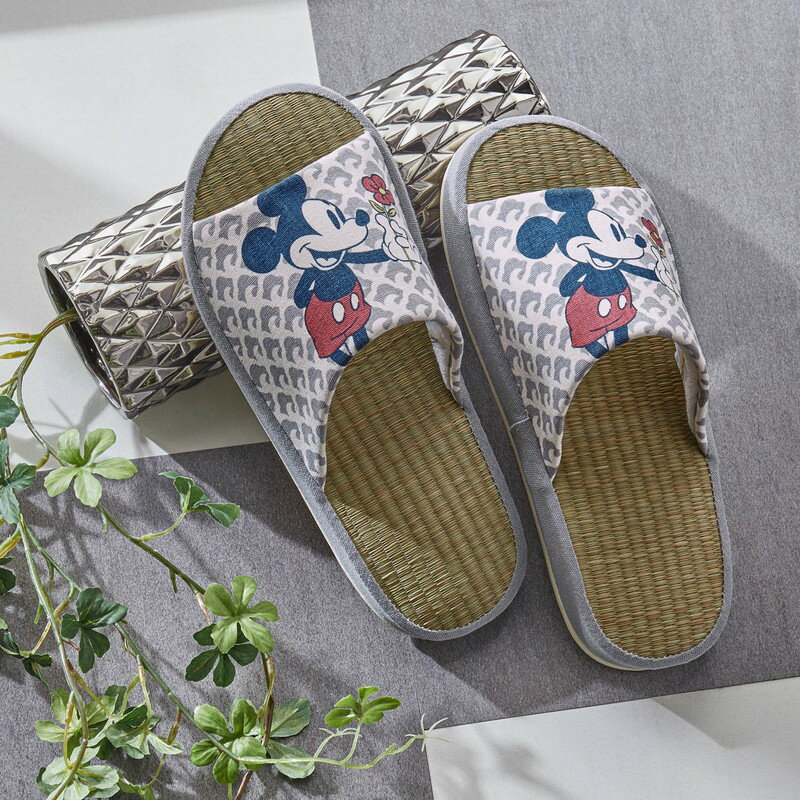 【Disney】ディズニー い草スリッパ 「ミッキーマウス」 ◆ M L ◆ ◇ スリッパ ルーム シューズ 家庭用 客用 バブーシュ ◇