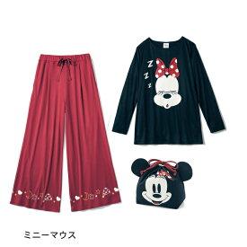 【Disney】ディズニー 巾着付きトラベル長袖パジャマ 「ミニーマウス」 ◆ S M L LL 3L ◆ ◇ 女性 パジャマ ルーム 部屋着 ルームウェア ミニーの日 コスプレ コスチューム ◇
