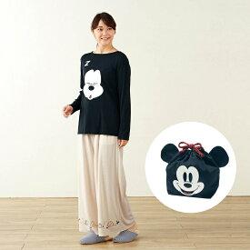 【Disney】ディズニー 巾着付きトラベル長袖パジャマ 「ミッキーマウス」 ◆ S M L LL 3L ◆ ◇ 女性 パジャマ ルーム 部屋着 ルームウェア コスチューム コスプレ ◇