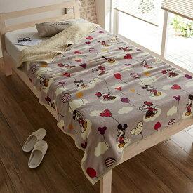 【Disney】ディズニー 大きめサイズのマイクロファイバー毛布 「ミッキー&ミニー」 ◇ 寝具 布団 ベッド ふとん 毛布 ブランケット あったか bed ◇
