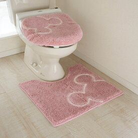 【Disney】ディズニー トイレのニオイに特化した消臭トイレマット・フタカバー(セット) 「ピンク」 ◆ ロング/温水洗浄便座 ◆ ◇ トイレ 便所 お手洗い おしゃれ ◇