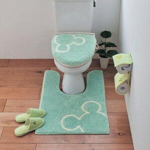 【Disney】 ディズニー トイレのニオイに特化した消臭トイレマット・フタカバーセット「ミッキーモチーフ」 「ミントグリーン」 ◆ 標準マット&温水フタセット ◆ ◇ ベルメゾン トイレ 便