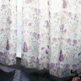 【Disney】 ディズニー レース柄にプリントをのせたミラーレースカーテン「眠れる森の美女」 ◆ 約100×183(2枚) ◆ ◇ ベルメゾン カーテン リビング 寝室 子供部屋 レース おしゃれ デザイン かわいい ◇