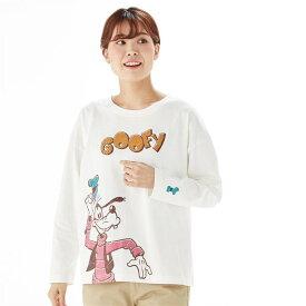 【Disney】 ディズニー サブキャラビッグ長袖Tシャツ(選べるキャラクター) 「グーフィー」 ◆ S M L LL ◆ ◇ ベルメゾン レディースファッション レディース カットソー Tシャツ ◇