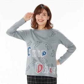 【Disney】 ディズニー プリント長袖Tシャツ(選べるキャラクター) 「チップ&デール(杢グレー)」 ◆ S M L LL 3L ◆ ◇ ベルメゾン レディースファッション レディース カットソー Tシャツ ◇