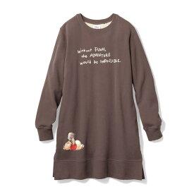 【Disney】 ディズニー プリントあったかチュニック(選べるキャラクター) 「くまのプーさん(ブラウン)」 ◆ S M L LL ◆ ◇ ベルメゾン レディースファッション レディース チュニック ワンピース チュニック ◇