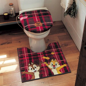 【Disney】 ディズニー チェック柄のトイレマット・フタカバーセット (選べるキャラクター) 「チップ&デール」 ◆ 標準マット&温水フタセット ◆ ◇ ベルメゾン トイレ 便所 お手洗い お