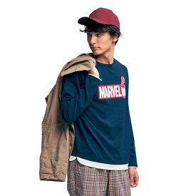 【Marvel】マーベル フェイクレイヤード長袖Tシャツ「マーベル」 「ネイビー」 ◆ M L LL 3L ◆ ◇ ベルメゾン メンズ ファッション Tシャツ カットソー トップス ◇