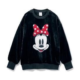 【Disney】 ディズニー かおかおフリースプルオーバー(選べるキャラクター) 「ミニーマウス」 ◆ S M L LL 3L ◆ ◇ ベルメゾン レディースファッション レディース カットソー Tシャツ デザインカットソー ◇