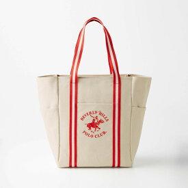 ボーダーテープ使いキャンバストートバッグ 「レッド」 ◇ バッグ カバン かばん レディース 女性 鞄 トート 手提げ 手さげベルメゾン ◇