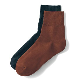 綿混 あったかソックスレディース(クルー丈) 「キャメルブラウン&ブラック」 ◆ 23~25 ◆ ◇ 女性 下着 インナー 靴下 タイツ レッグ ソックス くつした ベルメゾン ◇
