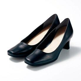 【最大20%OFFクーポン発行中】【送料無料】日本製本革選べるインソールスクエアパンプス 「ブラック」 ◆ a b ◆ ◇ 靴 レディース 女性 シューズ パンプス 仕事 オフィス ◇