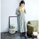 綿100%ビエラ起毛の長袖ワンピース 「ブルーストライプ」 ◆ M L LL 3L ◆ ◇ ベルメゾン レディース パジャマ 寝間着 部屋着 ルームウェア ◇