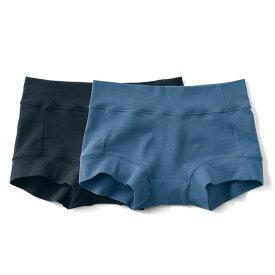 ゴムを使わないらくちんボックス ショーツ 「ブラック&ブルー」 ◆ S M L LL 3L ◆ ◇ ベルメゾン 女性 下着 インナー ショーツ 下着 肌着 ボックス ショーツ ◇