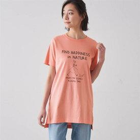 チュニックプリントTシャツ 「ピンク(ウォーク)」 ◆ S M L LL 3L ◆ ◇ ベルメゾン レディース ファッション カットソー トップス Tシャツ ◇