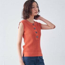 変形リブヘンリーネックニット 「オレンジレッド」 ◆ S M L LL ◆ ◇ ベルメゾン レディース ファッション ニット セーター トップス ◇