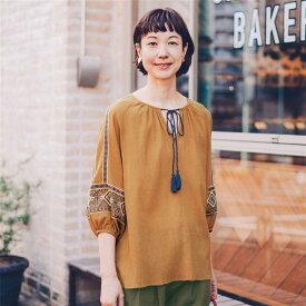 袖刺繍ブラウス ◆ S M L LL ◆ ◇ ベルメゾン レディース ファッション シャツ ブラウス トップス ◇
