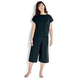 さっと乾いて風を通す綿混パジャマ 「ブラック×ブラック」 ◆ S M L LL 3L ◆ ◇ ベルメゾン レディース パジャマ 寝間着 部屋着 ルームウェア ◇