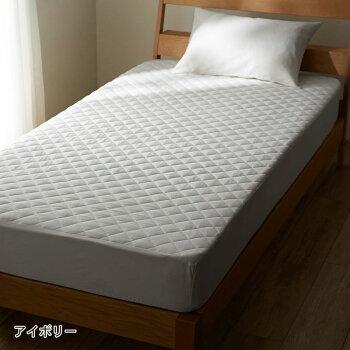 先染め綿100%のボックスシーツ型敷きパッド「グレー」