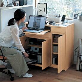 ファックス台兼用デスク 「 ナチュラル 」 ◆ 89.5 ◆ ◇ 家具 収納 ワーク デスク パソコン PC 机 書斎 リビング ダイニング テレワーク 在宅ワーク ◇