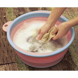 ベルメゾン 折りたためる洗い桶 カラー 「 ピンク 」 ◆ピンク◆ ◇ 洗濯 ランドリー 日本製 コンパクト 吊り下げ 折りたたみ 洗い桶 バケツ ばけつ ◇