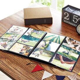 ベルメゾン インテリアに馴染むボックス付き布張り表紙の折りたたみアルバム 「グレー」(160枚) ◆160枚◆ ◇ おうち時間 ◇